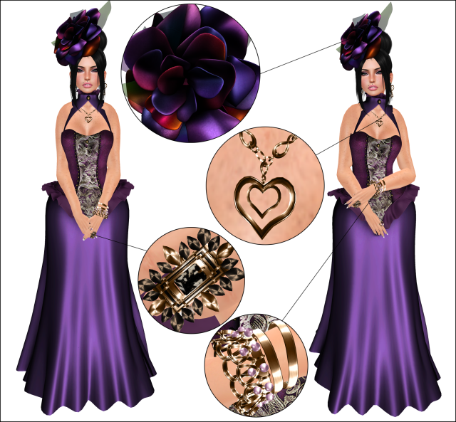 Dress- ?Junbug? La Bellezza ~ new release sale for the Rack at 200L for 24 hours (juno.mantel) ~ Headpiece- *{Junbug}* Crush Rose Headpiece (ULTRA RARE)(juno.mantel) @ ( the fantasy gacha, which is now closed till next round :< ) ~ Hair-ADILE hair – Pitch (Thora Charron) @ LeLutka ~ Ring 1- [BLACK] {me.} Liz – Jewelry Set- (siane.kanya) @ {me.} ~ Ring 2 and bracelet- [GOLD]{me.} Mel Jewelry Set- (siane.kanya) @ {me.} ~ Earrings and Necklace- [GOLD] {me.} Love U Set- (siane.kanya) @ {me.}