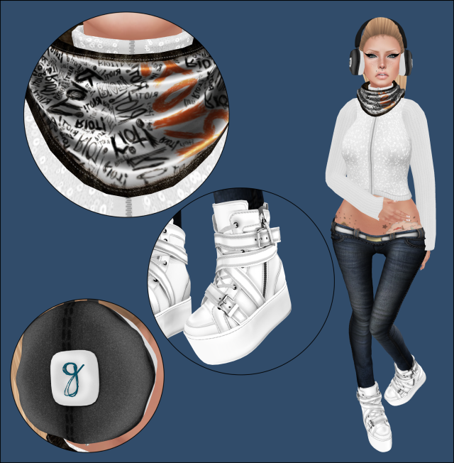 "~ Sweater- *MC* Zipup Turtleneck Sweater - Sequin/Snow (freya.olivieri) New @ SL Winter Trend 2013 ~ Jeans-[Cynful] Skinny Jeans - Med Blue (Cynthia Ultsch) New @ SL Winter Trend 2013 ~ Ear Muffs- [geek.] Toasted Muffs (jada.tigerpaw) @ New @ SL Winter Trend 2013 ~ Shoes- Admirals White High Riders (liamcole) FLite. ~ Hair- [e] Stevie - Blondes (elikapeka.tiramisu) [e] ~ Tattoo- Never Say Die 2 (alexandria.enchanted) @ elska  ~ Scarf- [Gang/Cold] ""Warmth"" Scarf@ New @ SL Winter Trend 2013 ~"
